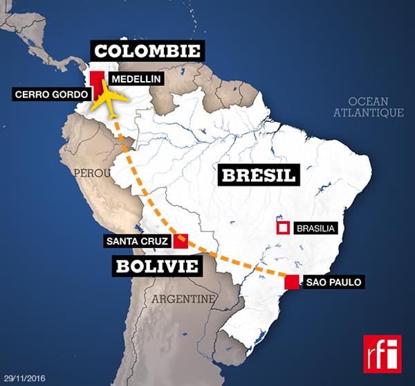 23h39 Crash d'un avion transportant une équipe brésilienne