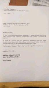 Lettre de démission de Moussa Sy