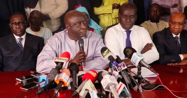 Idrissa Seck declaration conference de presse Coalition Idy 2019