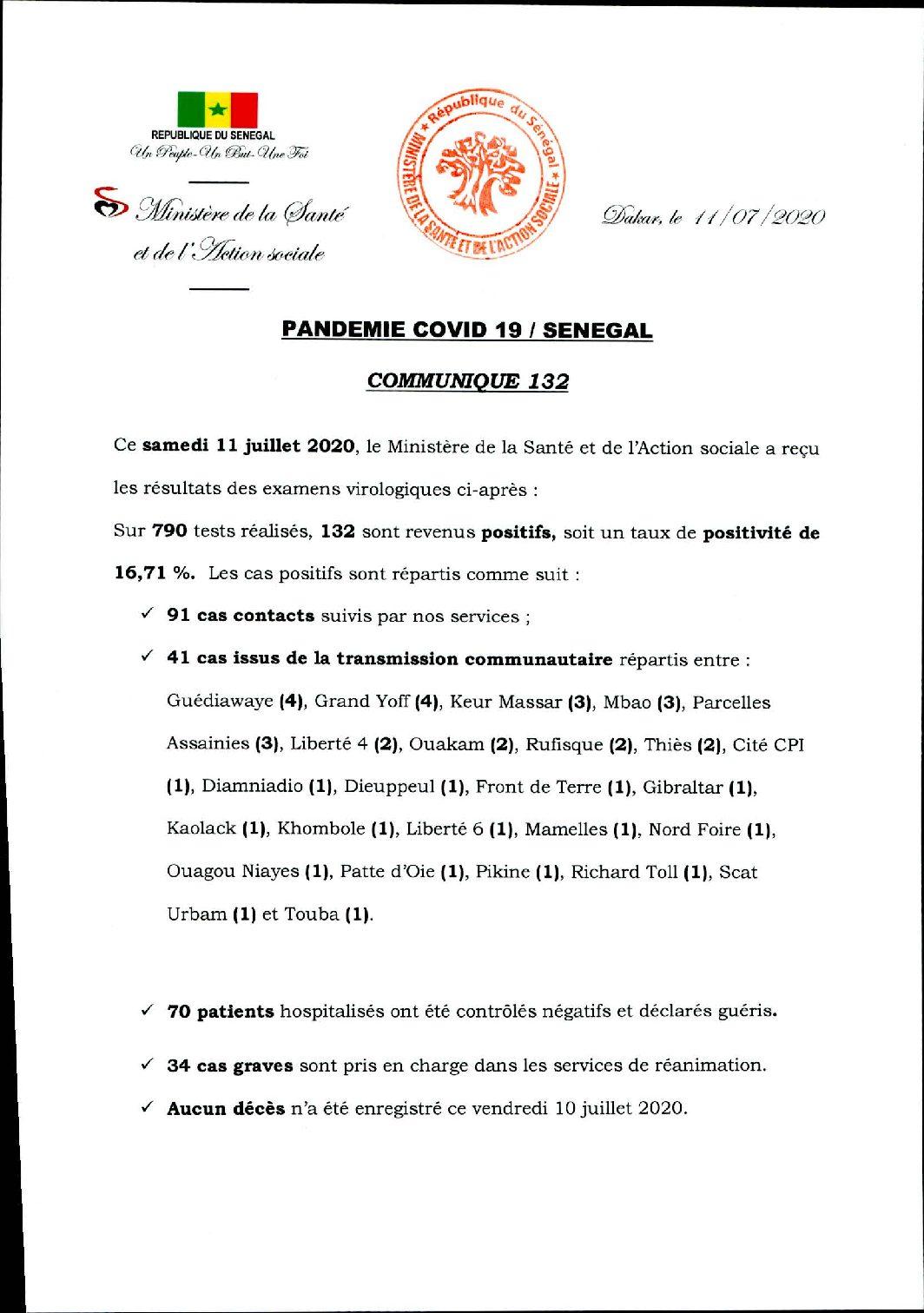 COMMUNIQUE 132 DU 11 JUILLET