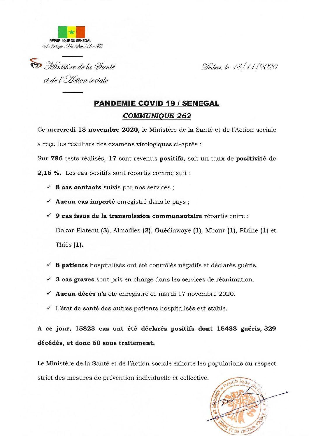 COMMUNIQUE 262 DU 18 NOVEMBRE 2020 (1)